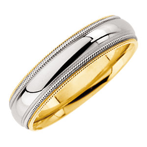18kt Yellow Gold and Platinum 5.5mm Milgrain Wedding Band