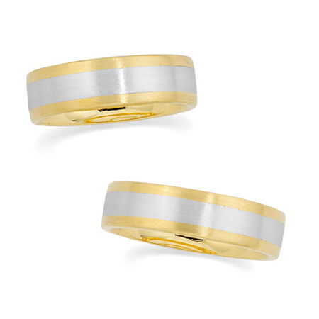18kt Yellow Gold and Platinum 6mm Brushed Wedding Band