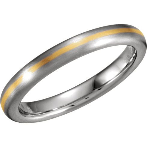 18k Yellow Gold and Platinum 3.5mm Brushed Wedding Band