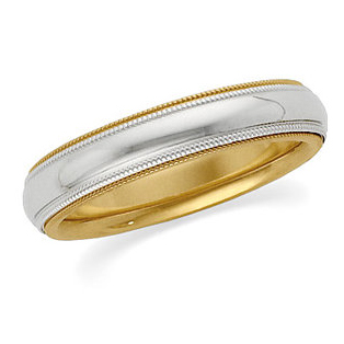 4mm 18kt Gold and Platinum Band with Double Milgrain