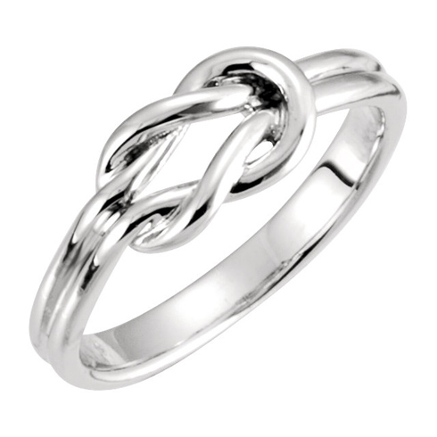 14kt White Gold Grooved Knot Ring