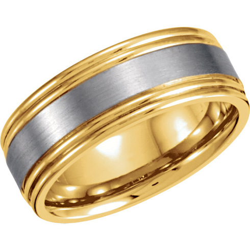 6mm 18kt Gold and Platinum Band with Grooved Edges