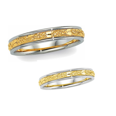 14kt Two-tone Gold 4mm Hand Engraved Floral Wedding Band