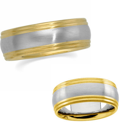 8mm 18k Yellow Gold and Platinum Band