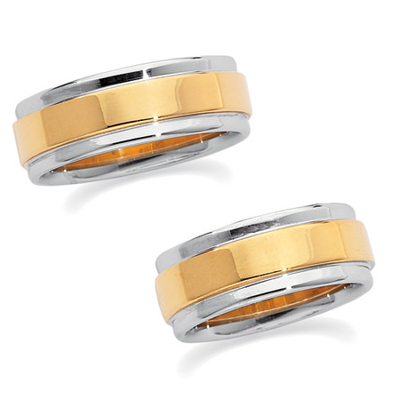 7.5mm 18k Yellow Gold and Platinum Band