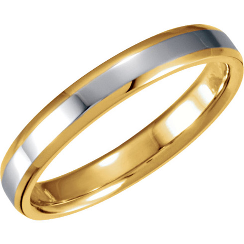 18kt Yellow Gold and Platinum Beveled Band 4mm