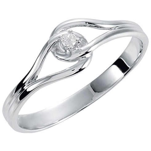 14kt White Gold Diamond Accent Promise Ring with Knot Design