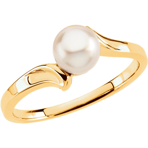 14kt Yellow Gold Akoya Cultured Pearl Bypass Ring