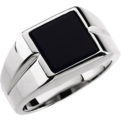 14kt White Gold Men's 10mm Square Onyx Ring