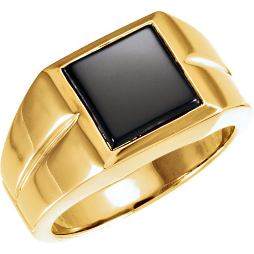 14kt Yellow Gold Men's 10mm Square Onyx Ring