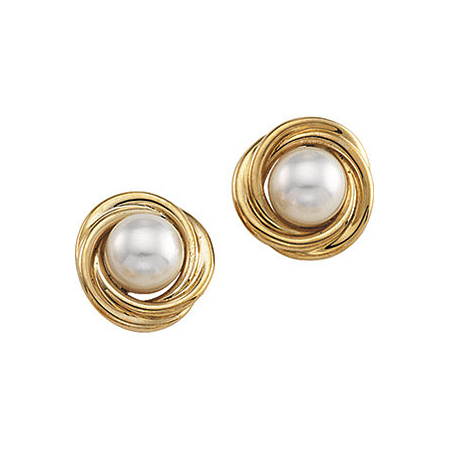 14kt Yellow Gold Knot 6mm Akoya Cultured Pearl Earrings