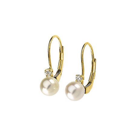 14kt Yellow Gold 6mm Akoya Cultured Pearl Diamond Lever Back Earrings