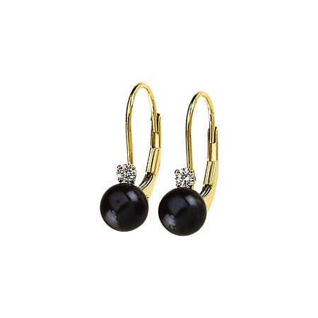 14kt Yellow Gold 6mm Black Akoya Cultured Pearl Diamond Lever Back Earrings