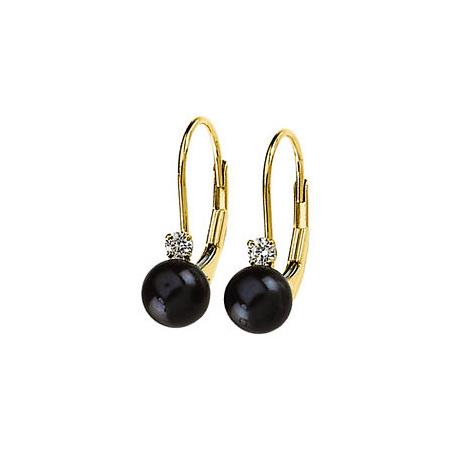 14kt Gold 6mm Black Akoya Cultured Pearl Diamond Lever Back Earrings