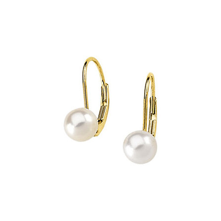 14kt Yellow Gold 6mm Akoya Cultured Pearl Lever Back Earrings