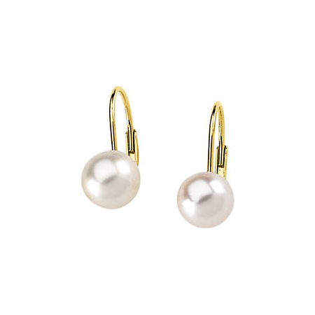 14kt Yellow Gold 7mm Akoya Cultured Pearl Lever Back Earrings