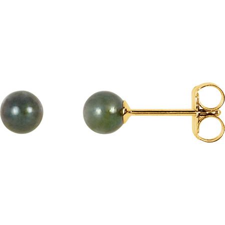 14kt Yellow Gold 4mm Black Akoya Cultured Pearl Stud Earrings