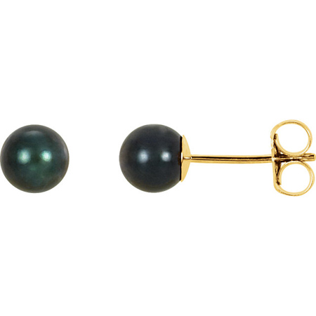 14kt Yellow Gold 5mm Black Akoya Cultured Pearl Stud Earrings