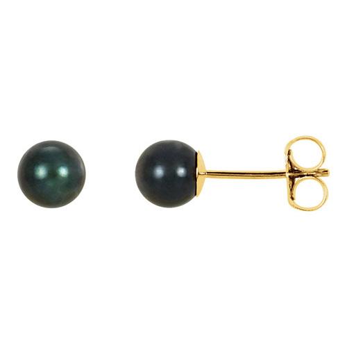 14kt Yellow Gold 5mm Black Akoya Cultured Pearl Stud Earrings