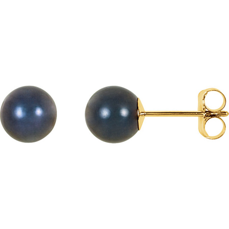 14kt Yellow Gold 6mm Black Akoya Cultured Pearl Stud Earrings