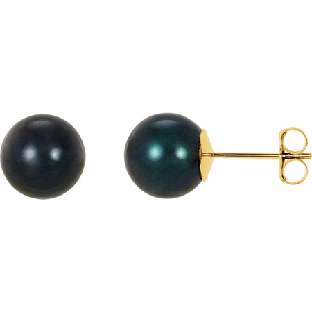 14kt Yellow Gold 8mm Black Akoya Cultured Pearl Stud Earrings