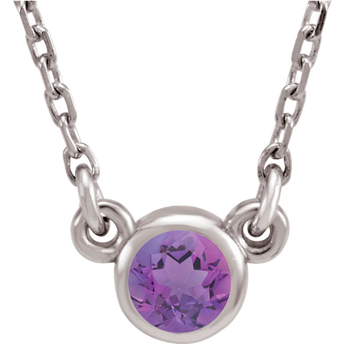 14kt White Gold 1/4 ct Amethyst Bezel 18in Necklace