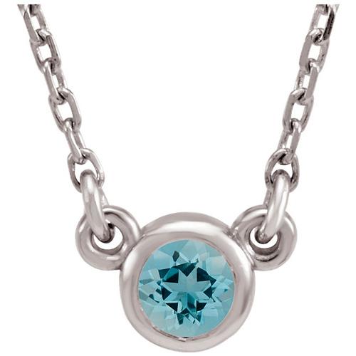 14kt White Gold 1/4 ct Aquamarine Bezel 18in Necklace