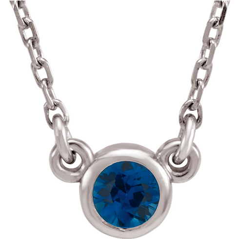 14kt White Gold 1/3 ct Blue Sapphire Bezel 18in Necklace