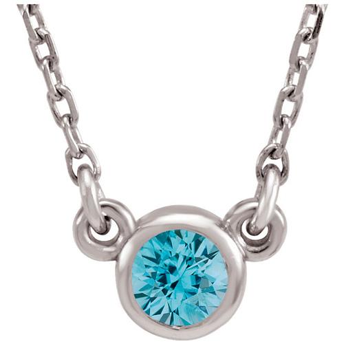 14kt White Gold 2/5 ct Blue Zircon Bezel 18in Necklace