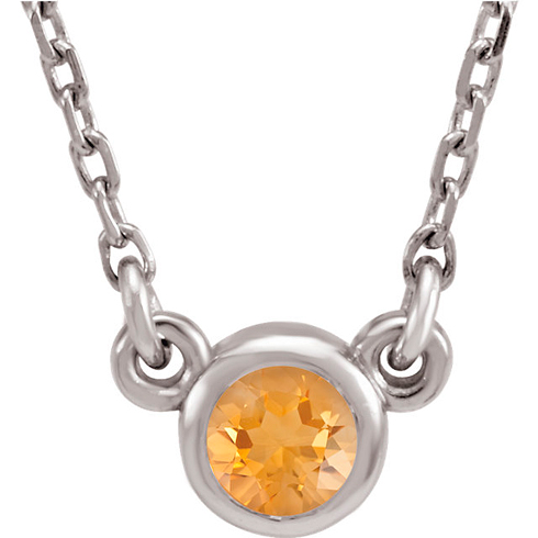 14kt White Gold 1/4 ct Citrine Bezel 18in Necklace