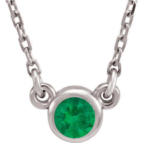 14kt White Gold 1/4 ct Emerald Bezel 18in Necklace