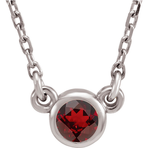 14kt White Gold 1/4 ct Garnet Bezel 18in Necklace
