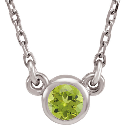14kt White Gold 1/4 ct Peridot Bezel 18in Necklace