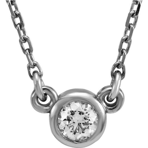 14kt White Gold 1/3 ct White Sapphire Bezel 18in Necklace