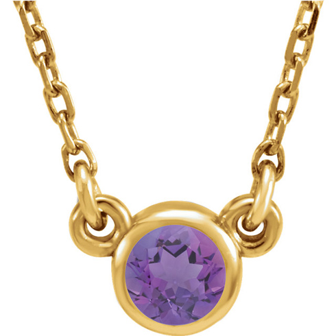 14kt Yellow Gold 1/4 ct Amethyst Bezel 16in Necklace