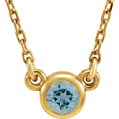 14kt Yellow Gold 1/4 ct Aquamarine Bezel 16in Necklace