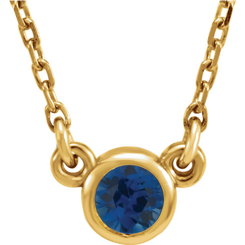14kt Yellow Gold 1/3 ct Blue Sapphire Bezel 16in Necklace