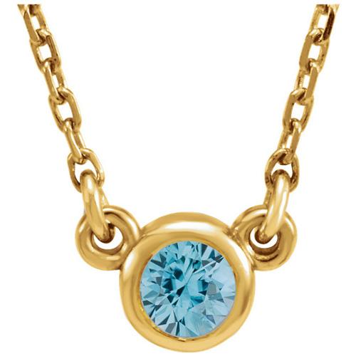 14kt Yellow Gold 2/5 ct Blue Zircon Bezel 16in Necklace