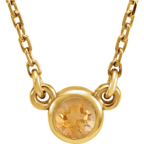 14kt Yellow Gold 1/4 ct Citrine Bezel 16in Necklace