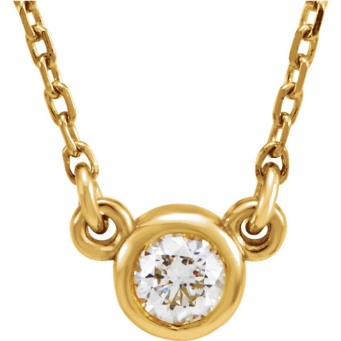 14kt Yellow Gold 1/4 ct Diamond Bezel 16in Necklace