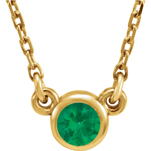 14kt Yellow Gold 1/4 ct Emerald Bezel 16in Necklace