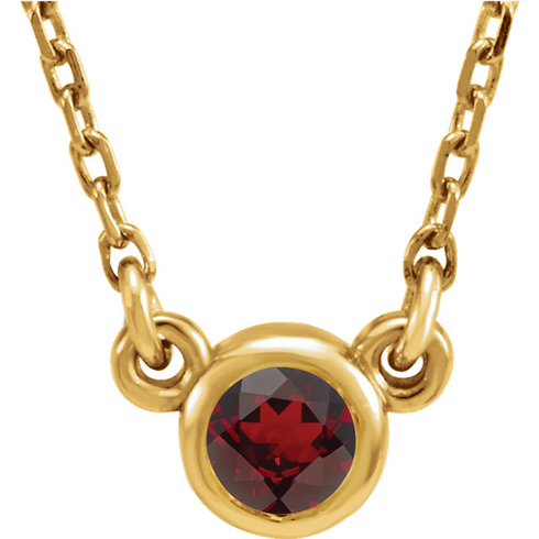 14kt Yellow Gold 1/4 ct Garnet Bezel 16in Necklace