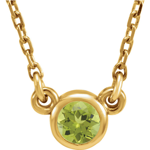 14kt Yellow Gold 1/4 ct Peridot Bezel 16in Necklace