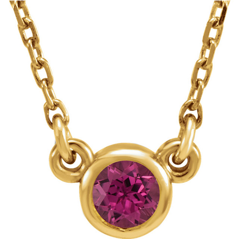 14kt Yellow Gold 1/4 ct Pink Tourmaline Bezel 16in Necklace
