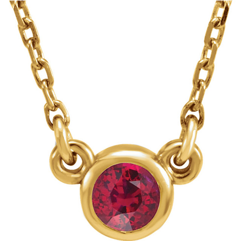 14kt Yellow Gold 1/3 ct Ruby Bezel 16in Necklace