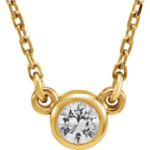 14kt Yellow Gold 1/3 ct White Sapphire Bezel 16in Necklace