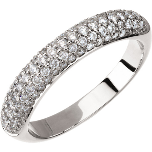 14kt White Gold .75 ct tw Diamond Pave Anniversary Band Size 6