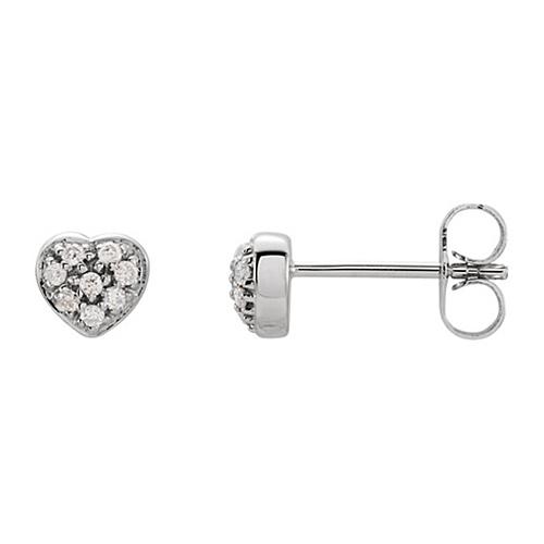 14kt White Gold 1/10 ct Diamond Cluster Heart Stud Earrings