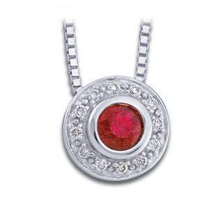 14kt White Gold 1/3 CT Genuine Ruby and Diamond Necklace 18in