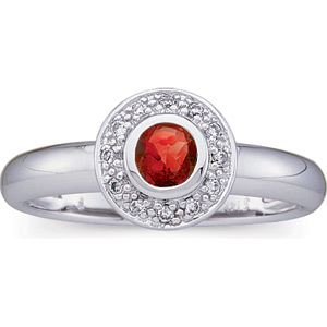14kt White Gold 1/3 CT Genuine Ruby and Diamond Ring